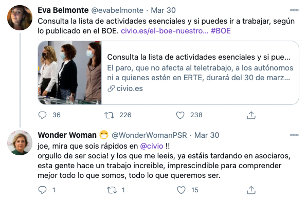 Tweet sobre Civio de Wonder Woman
